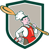 Chef Cook Marching Spoon Shield Cartoon