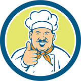 Chef Cook Happy Thumbs Up Circle Retro