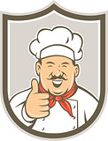 Chef Cook Happy Thumbs Up Shield Retro