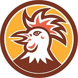 Cockerel Rooster Head Circle Retro