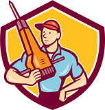 Construction Worker Jackhammer Shield Cartoon