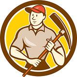 Construction Worker Holding Pickaxe Circle Cartoon