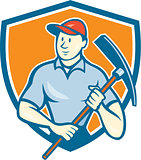 Construction Worker Holding Pickaxe Shield Cartoon