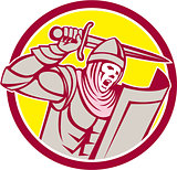 Crusader Knight With Sword and Shield Circle Retro
