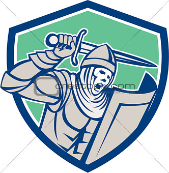 Crusader Knight With Sword and Shield Retro