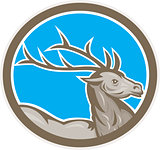 Deer Stag Buck Head Circle Retro