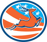 Deer Stag Buck Jumping USA Flag Circle