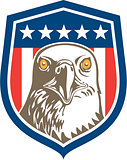 American Bald Eagle Head Stars Shield Retro