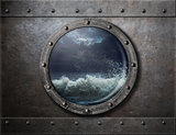 old ship metal porthole or window with sea storm