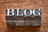 blog word in mixed vintage metal type