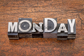 Monday word in metal type