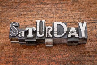 Saturday word in mixed vintage metal type