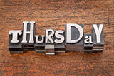 Thursday word in mixed vintage metal type