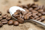 Coffee beans and spoon on wooden background