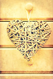 Macro retro cross processed effect image of hearts on wooden background