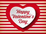 Valentine Day Heart on Retro  Background