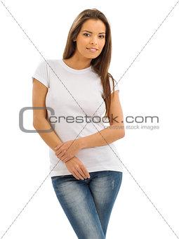 Smiling brunette wearing blank white shirt