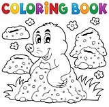 Coloring book with happy mole theme 1