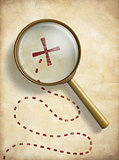 Pirates treasure old map with marked location and loupe. Searching concept.