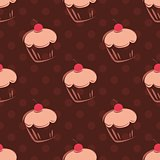 Seamless vector pattern or tile background with cherry cupcakes