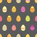 Tile vector pattern with easter eggs on black background