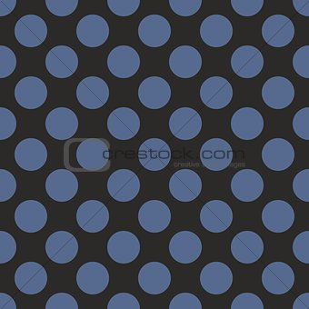 Tile vector pattern with blue polka dots on black background