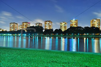 A lagoon at ECP with colourful light reflections