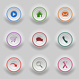 Colored set round buttons for web template