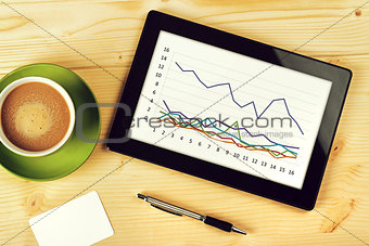Business Chart Analysis on Tablet Computer