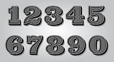 set stylized digits for design certification, invitations