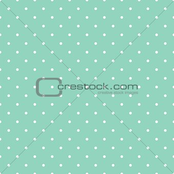 Tile vector pattern with small white polka dots on mint green background