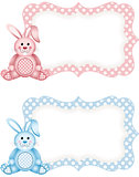 Baby bunny pink and blue tag label