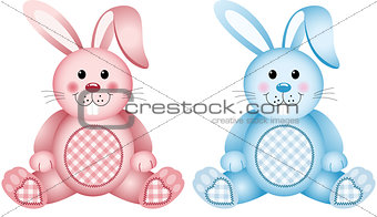 Baby bunny pink and blue