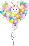 Bunny flying with heart balloon