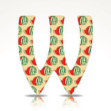 The letter W of the alphabet made of Watermelon