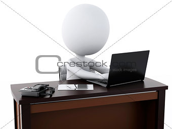 3d white business people working at office