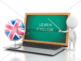 3d white people with laptop. Learn English concept.