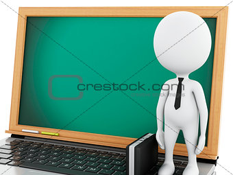 3d white business people with briefcase and laptop.