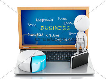3d white business people with statistic graph and laptop.