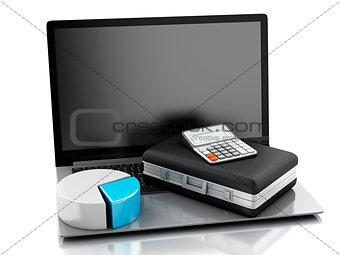 3d Briefcase, statistic graph and laptop pc. Business office con