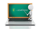 3d white people with laptop. e- learning concept.