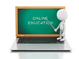 3d white people with laptop. Online education concept