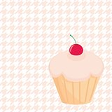 Cherry vector cupcake on houndstooth background