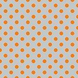 Tile vector pattern with orange polka dots on grey background