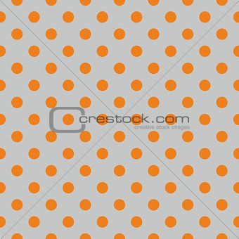 Tile vector pattern with orange polka dots on grey background
