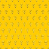 Tile pattern hand drawn vector light bulbs on yellow background