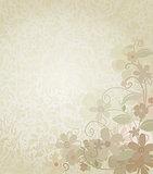 Vintage Background Framed with Corner Border Flowers
