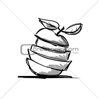 Slices of fruits, apple shape. Sketch for your design