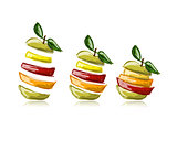 Slices of fruits, apple shape. Sketch for your design