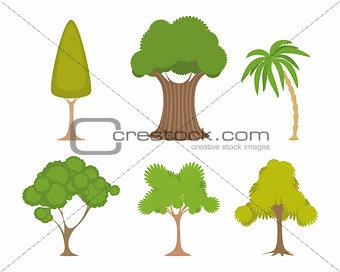 Green trees set